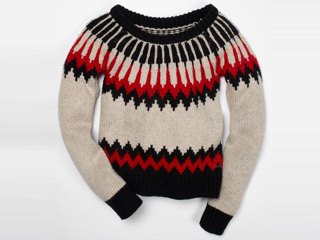Denim&Supply Ralph Lauren - una calda idea per Natale. (Per lei) Maglione fantasia di lana con scollo a barchetta. (€135)